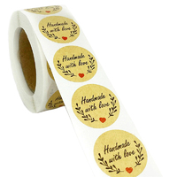 Hand Red Heart - Made With Love Stickers 500 Per Roll