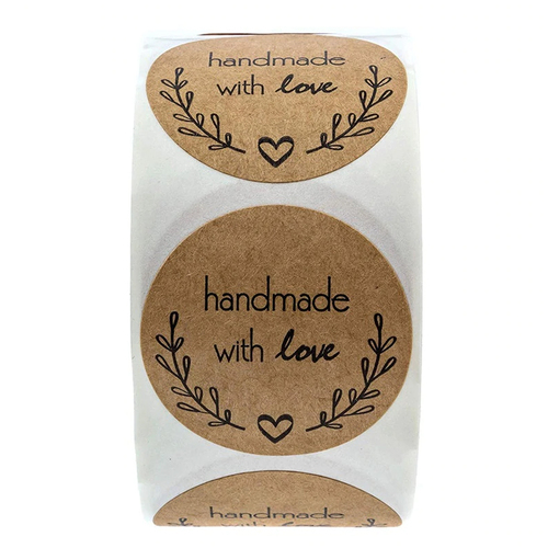 Hand Made With Love Stickers 500 Per Roll